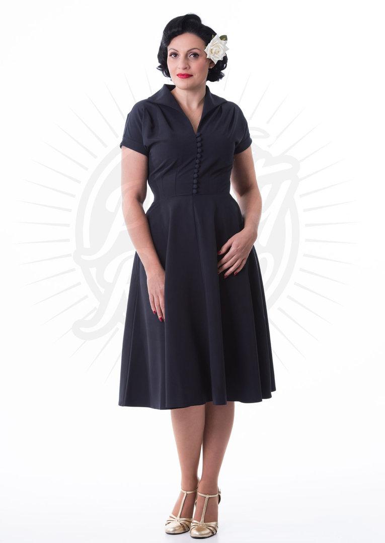 R&B Vintage Clothing Pretty 40s Hostess Dress Deep Navy