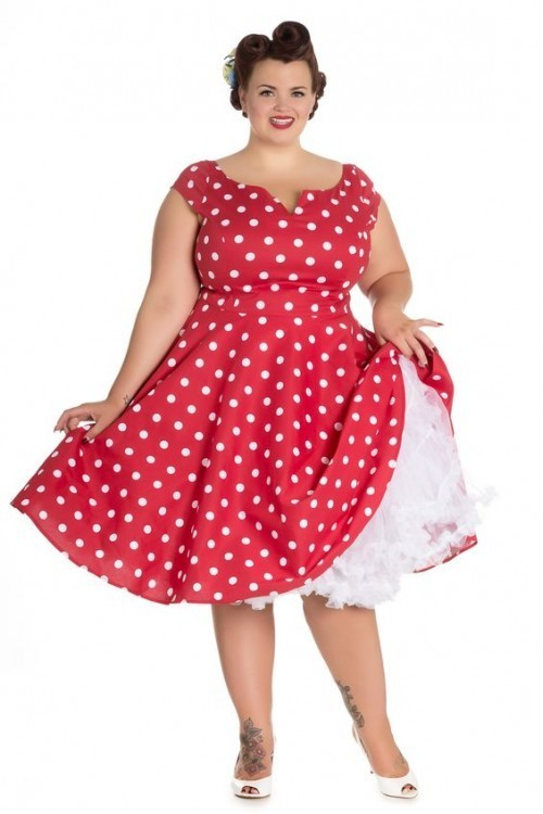 R&B Vintage Clothing Nicky 50\'s Swing Dress Red/White - plus ...