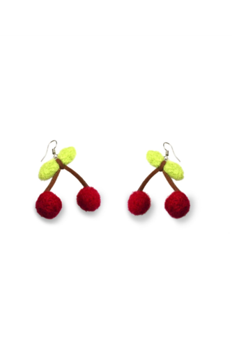 Felt Cherry Drop Earrings