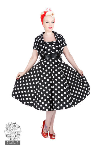 Black White Big Dot Swing Dress w/ Bolero