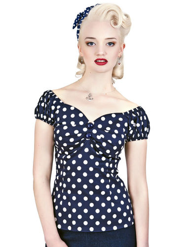 Dolores Top navy/white polka dots