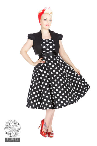 Vivian black white large polka dots and black bolero