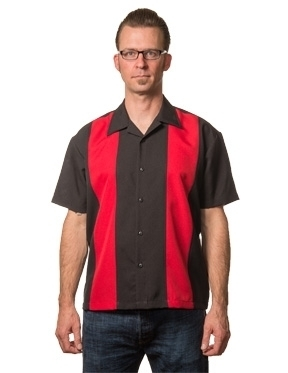 Poplin Mid Panel shirt black/red