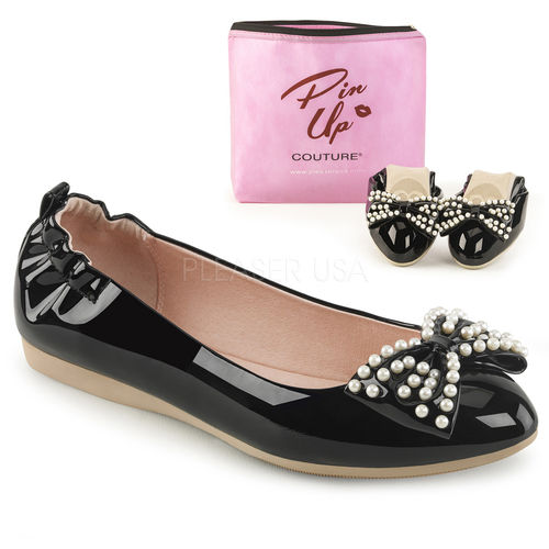 Foldable flats w/pearl embellished bow black