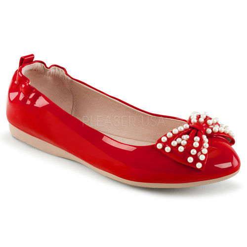 Foldable flats w/pearl embellished bow red