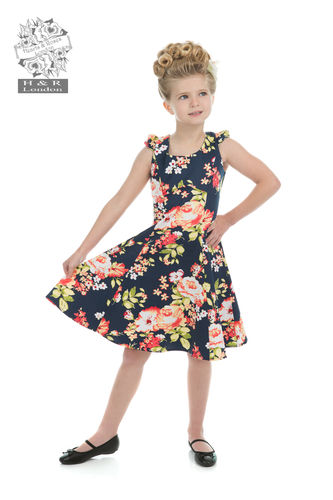 Jennifer Floral Kids Dress Navy