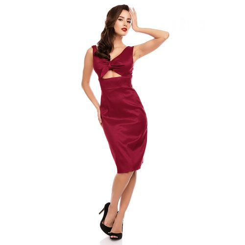 Amelia Cut out bow Fitted wiggle dress wine red