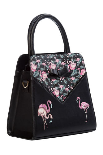 Deluxe Flamingos handbag Black