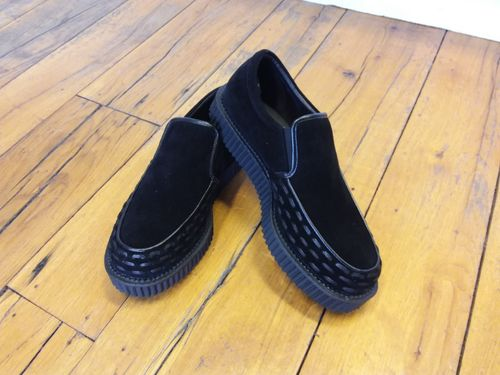 Creeper loafers black suede vegan