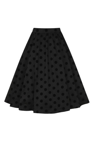 Black Flocked Swing Skirt