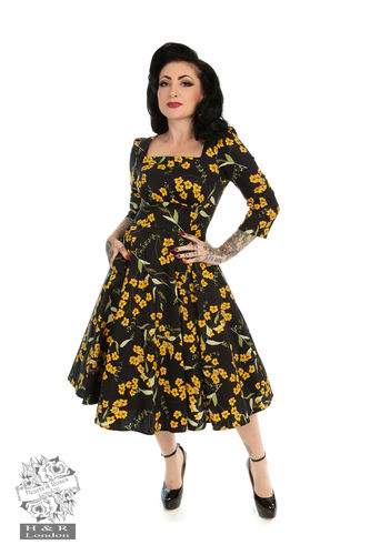 Florence Floral Swing Dress Black
