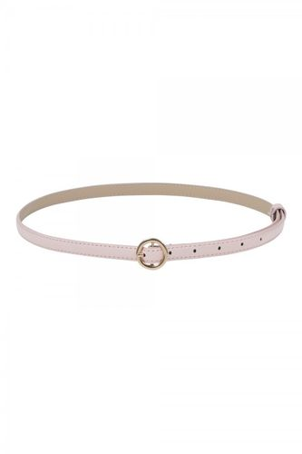 Slim belt w/ round buckle pink