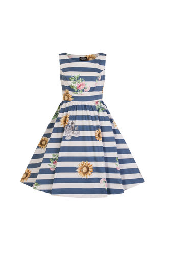 Blue Stripe Skyscraper Sunflower Swing dress kids