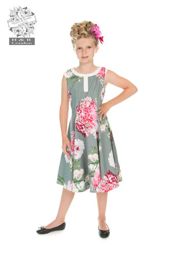Mix Floral Hepburn Kids Dress Grey