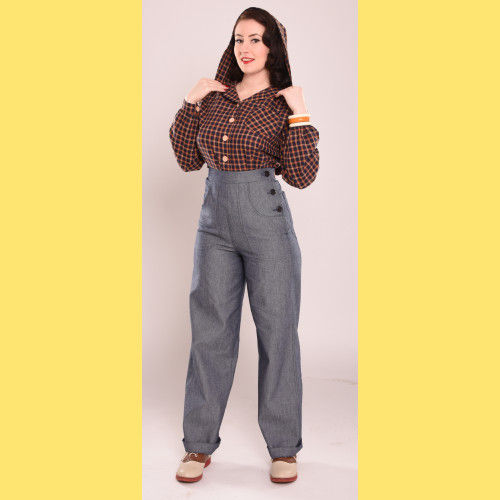 Blue 40s pants by Freddies of Pinewood