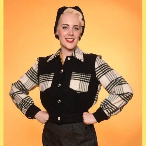 Black & White Check 40s Jacket by Freddies of Pinewood