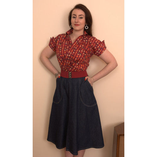 Blue Denim jeans skirt by Freddies of Pinewood