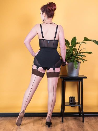 Contrast Seamed Stockings  Champagne w/coffee backseam