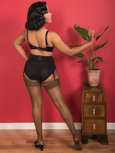 Seamed Stockings  Coffee w/coffee backseam