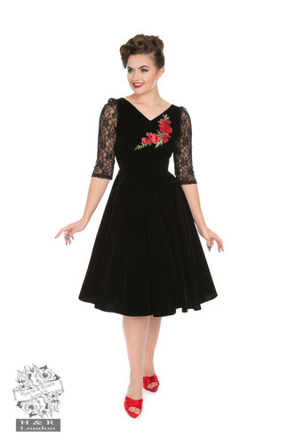 Divine Velvet Swing Dress Black