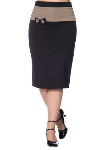 Colour block Pencil Skirt Black/beige