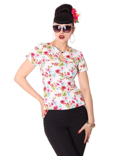 Nevenka Hawaii Flowers keyhole blouse White