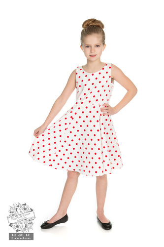 Cindy Polka Dots swing Dress white/red Kids