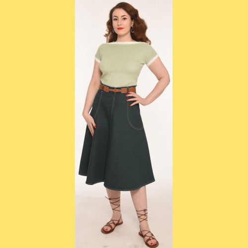 Green Denim jeans skirt  by Freddies of Pinewood