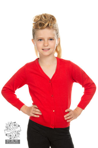 Kids Plain Red Cardigan