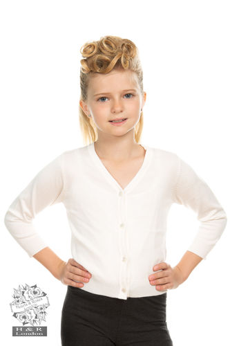 Kids Plain Ivory Cardigan
