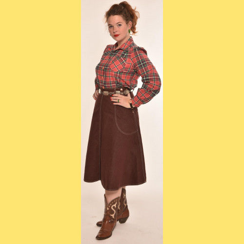 Brown Denim jeans skirt  by Freddies of Pinewood