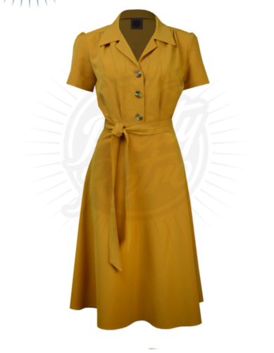 Pretty 40s Shirt Dress Mustard